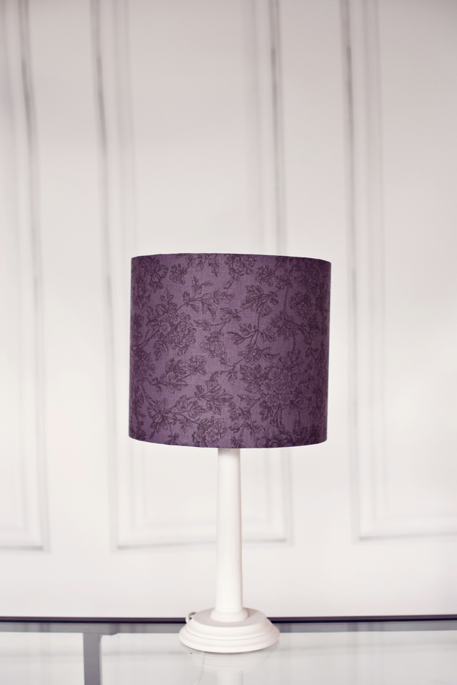 20cm Grey lampshade, purple lamp shade, floral lampshade,