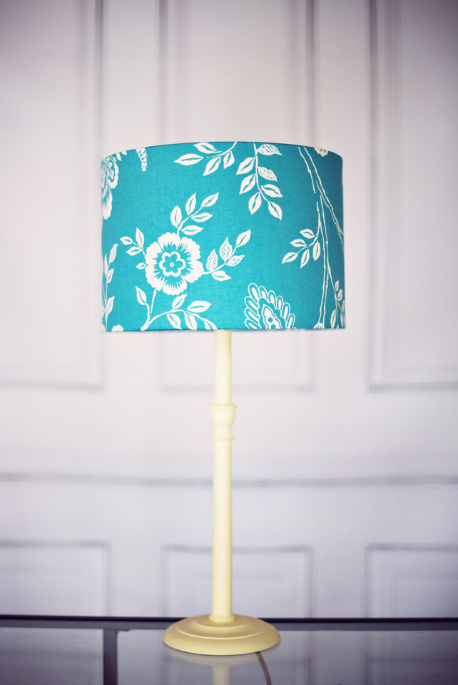 Blue Lamp shade 30 cm, Floral Lamp shade, Handmade Floral Lamp, Floral Shade