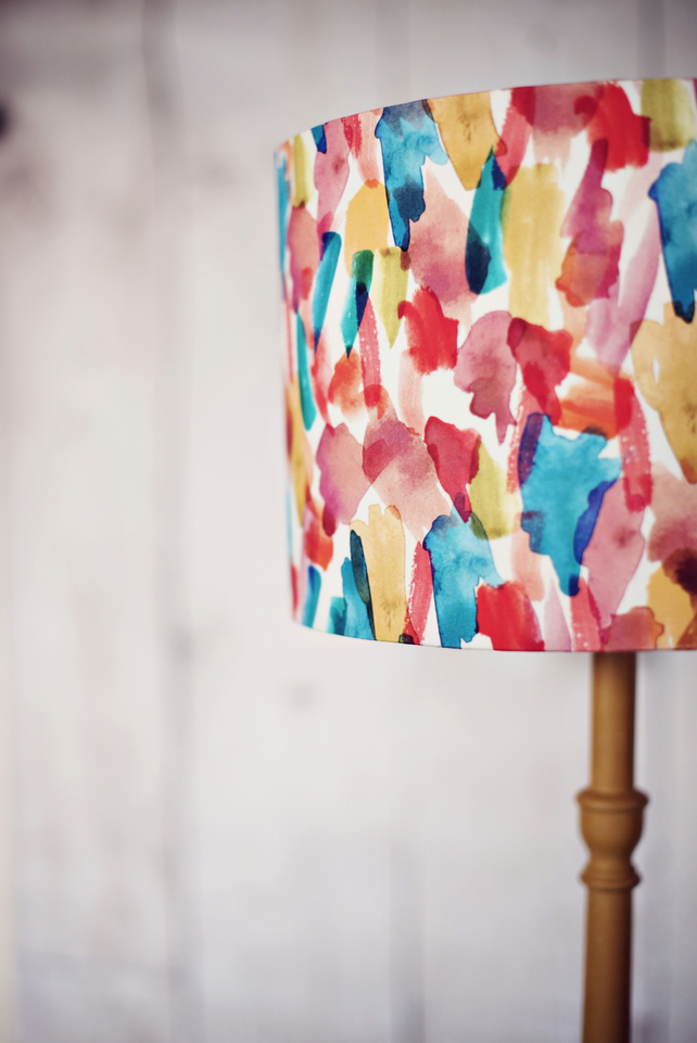 Red Blue Green Mustard White fabric Lamp Shade Bright Cotton Fabric Lampshade