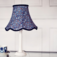 Hand stitched Blue lampshade featuring a liberty fabric