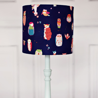Navy blue lamp, navy lamp shade, lampshade, lamp shade, owl lampshade