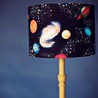 Planet lamp, stars lampshade, space lamp, black lamp, kids lamps, childrens lamp