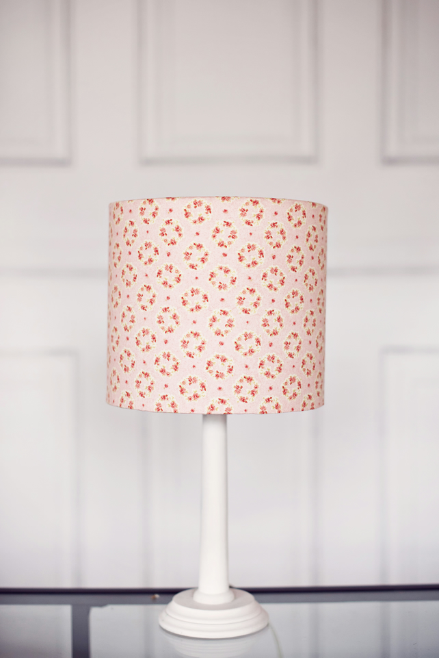 20 cm Pink Lampshade, Floral Lampshade, Grey and Pink, Grey Lamp Shade, Lamp