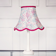 Pink, Blue and White Small Floral Traditional Lampshade Pink, Blue Vintage Look