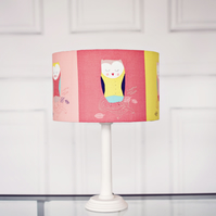 30 cm Nursery Lamp shade, Multi Coloured Shade, Owl lamp shade, Drum lampshade