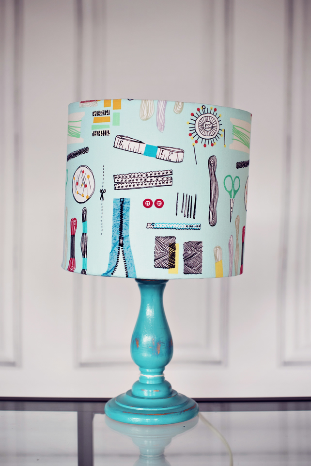 25cm Blue Lampshade, Sew lampshade,