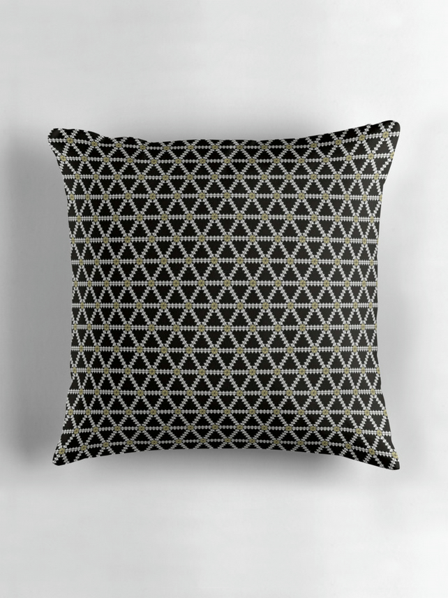 Black and Gold Geometric Cushion Cover16 inch