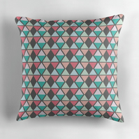 Grey and Pastel Diamond Cushion Cover 16 inch