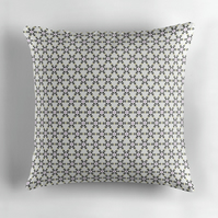 White, Black and Pink Geometric Cushion Cover16 inch