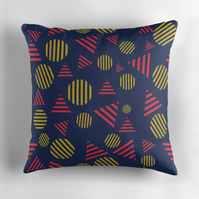 Blue, Red and Yellow Circles and Triangles Cushion Cover 16 inch