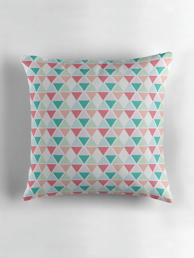 Pink, White, Peach and Green Pastel Triangles Cushion Cover 16 inch