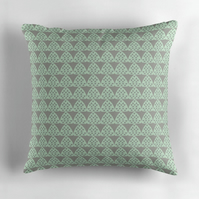Grey, Mint and Grey Triangles Cushion Cover 16 inch