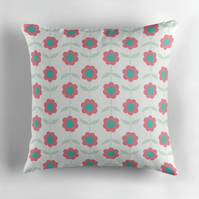 White, Pink and Green Flowers Cushion Cover 16 inch