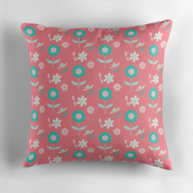 Pink, Green and White Floral Cushion Cover 16 inch