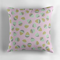 Pink, Grey, Mint and Gold Cushion Cover 16 inch
