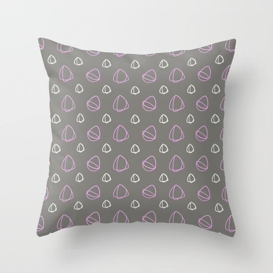 Grey, Pink and White Design Cushion Cover 16 inch