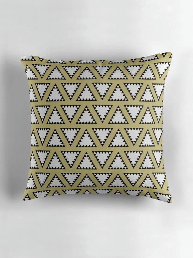 Gold, Black and White Triangle Geometric Cushion Cover16 inch