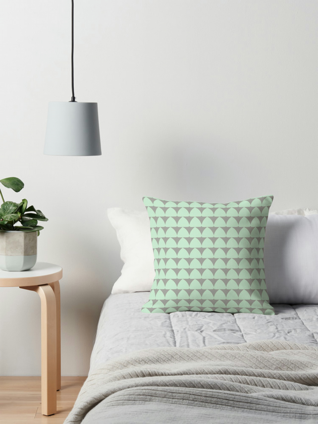 Mint and Grey Triangles Cushion Cover 16 inch