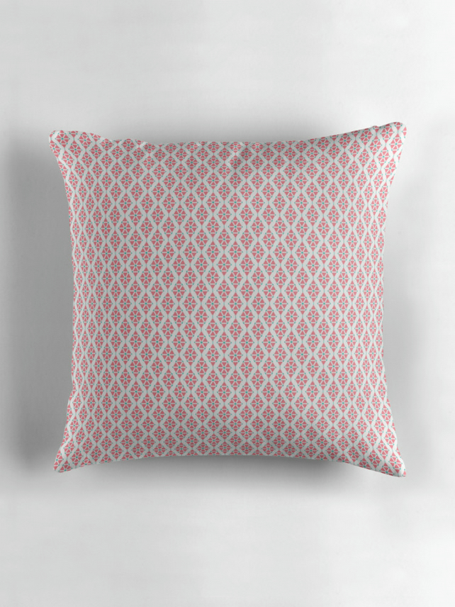 Pink and White Triangle Cushion Cover 16 inch