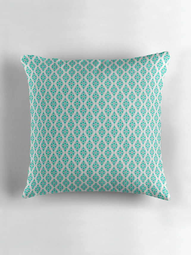 Blue and White Triangle Cushion Cover 16 inch