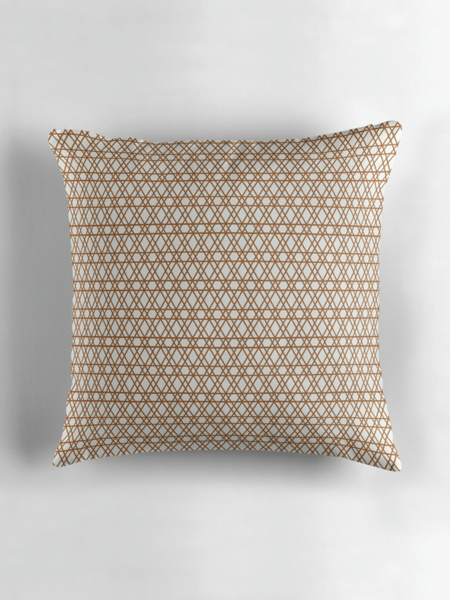 Copper and White Cushion Cover 16 inch