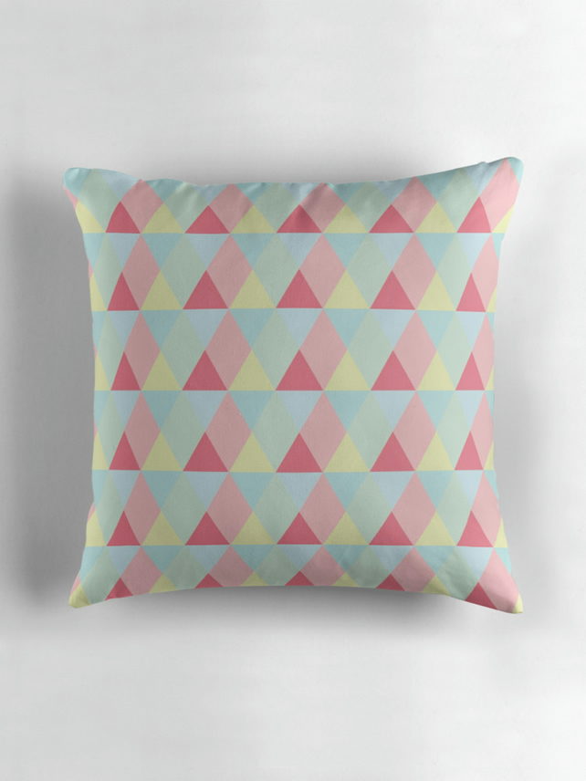 Pastel Triangles Geometric Cushion 16 inch