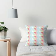 Blue and White Pastel Triangles Geometric Cushion 16 inch