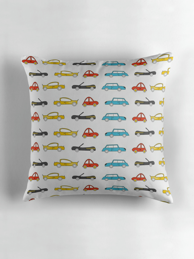White, Blue and Red Cars Cushion Cover 16 inch