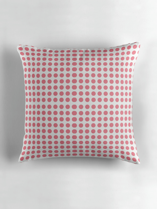 Pink and white polka dots Cushion Cover 16 inch