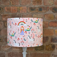 20cm Pink Princess and Rainbows lamp shade, table lamp or ceiling shade