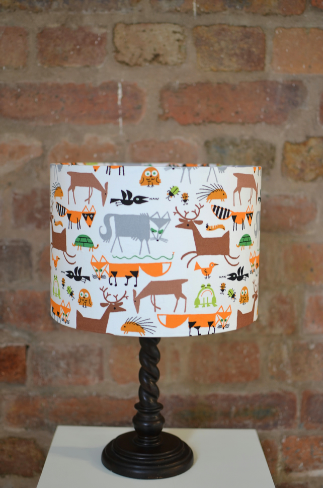 20cm, white, orange and brown foxes and animals lamp shade