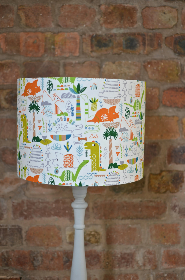 20cm Dinosaur Lampshade, Green, white and Orange