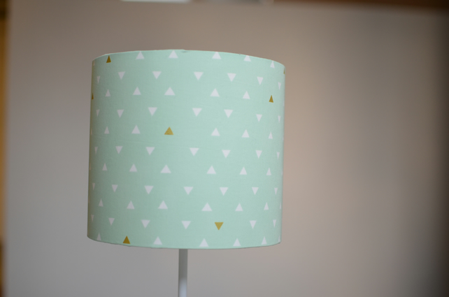 Mint Green and white Geometric lampshade 30cm