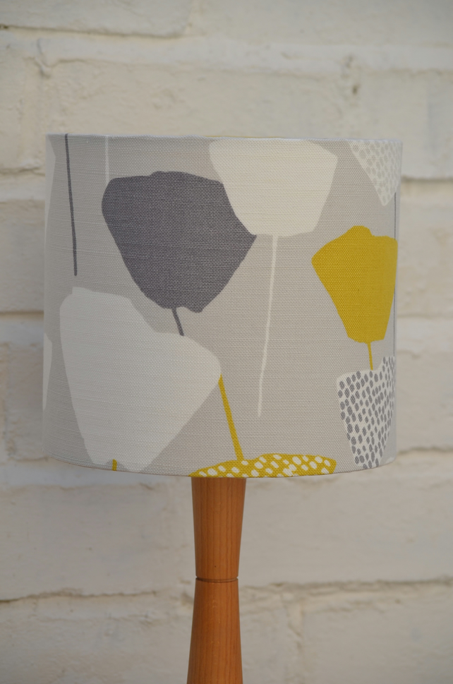 Grey, Yellow and white Retro Lampshade, John Lewis Fabric, 20cm