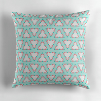 Blue and Pink Large Geometric Triangles Cushion 16 inch