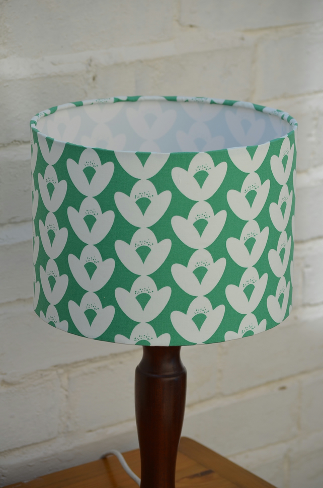 30cm Green and White Floral Lamp shade