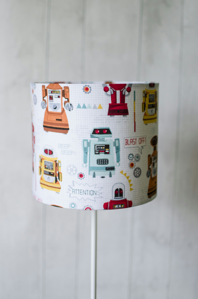 30cm robot lampshade kids bedroom lamp shade folksy 30cm robot lampshade kids bedroom lamp shade nursery lamp mozeypictures Gallery