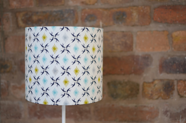 20cm White, Blue and Green Birds Lampshade