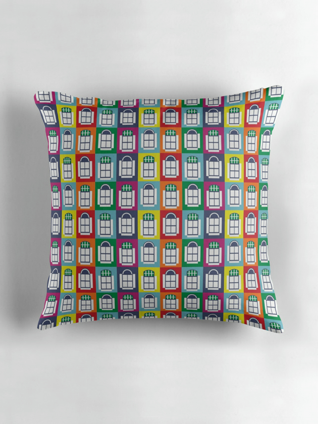 Rainbow cushion cover, 16x16 cushion, Rainbow home decor