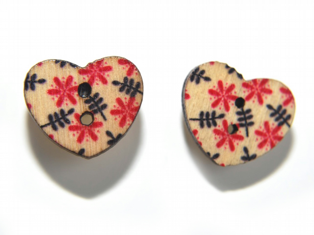 Printed heart button earrings