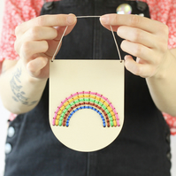 Small Rainbow Embroidery Board Kit Natural