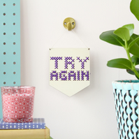 'Try Again' Mini Cross Embroidery Board Kit