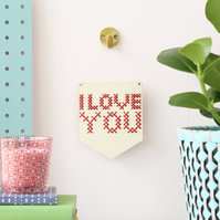 'I Love You' Mini Cross Embroidery Board Kit