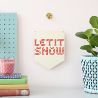 'Let It Snow' Large Cross Embroidery Board Kit