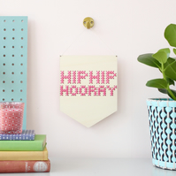 'Hip Hip Hooray' Large Cross Embroidery Board Kit