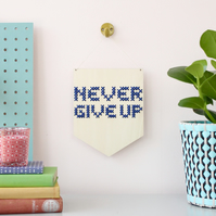 'Never Give Up' Large Cross Embroidery Board Kit