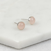 Handmade Sterling Silver Rose Quartz Stud Earrings