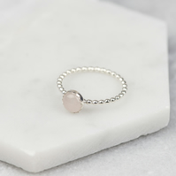 Handmade Sterling Silver Rose Quartz Stacking Ring