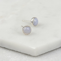 Handmade Sterling Silver Blue Lace Agate Stud Earrings