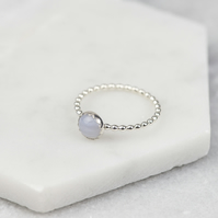 Handmade Sterling Silver Blue Lace Agate Stacking Ring